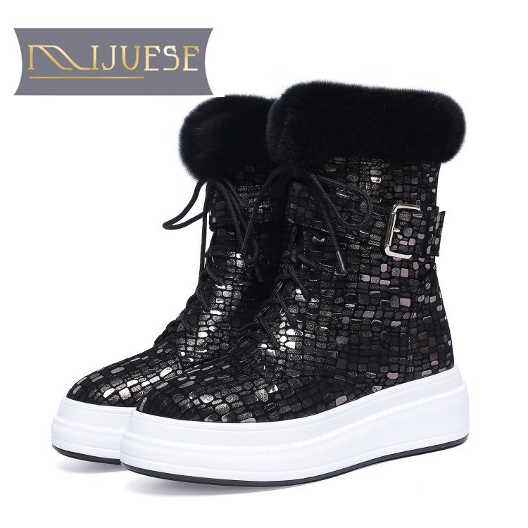 MLJUESE 2020 women snow boots Sheepskin Rome style Buckle strap winter warm plush platform  boots women ankle boots size 33-40