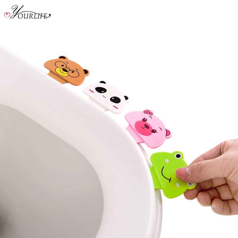 OYOURLIFE 2pc Cartoon Portable Toilet Seat Lifters Bathroom Flip Lid Toilet Cover Avoid Touch Not Dirty Hands Lifting Handle