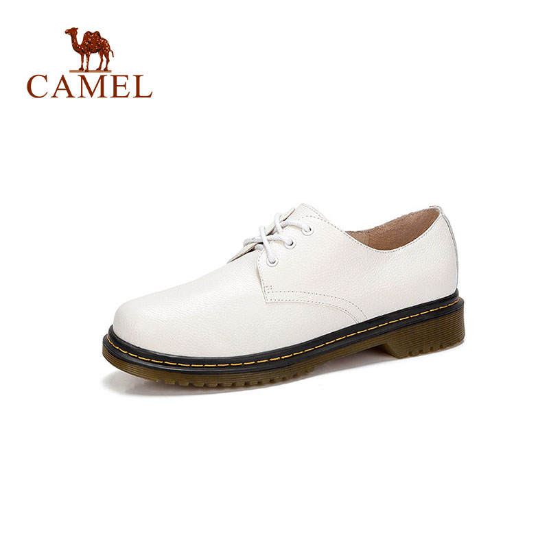 CAMEL Women New Casual Fashion Single Shoes Women Genuine Soft Leather Lace Leisure Dress Shoes For