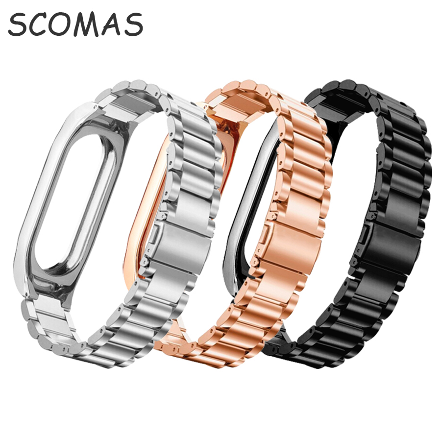 SCOMAS metal band strap for xiaomi miband 2 miband2 replacement wrist bands for Xiaomi Mi band 2 mi band 2 wearable accessories