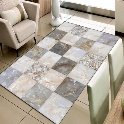 Else Gray Marble Brown Square Abstract Design 3d Print Non Slip Microfiber Living Room Decorative Modern Washable Area Rug Mat
