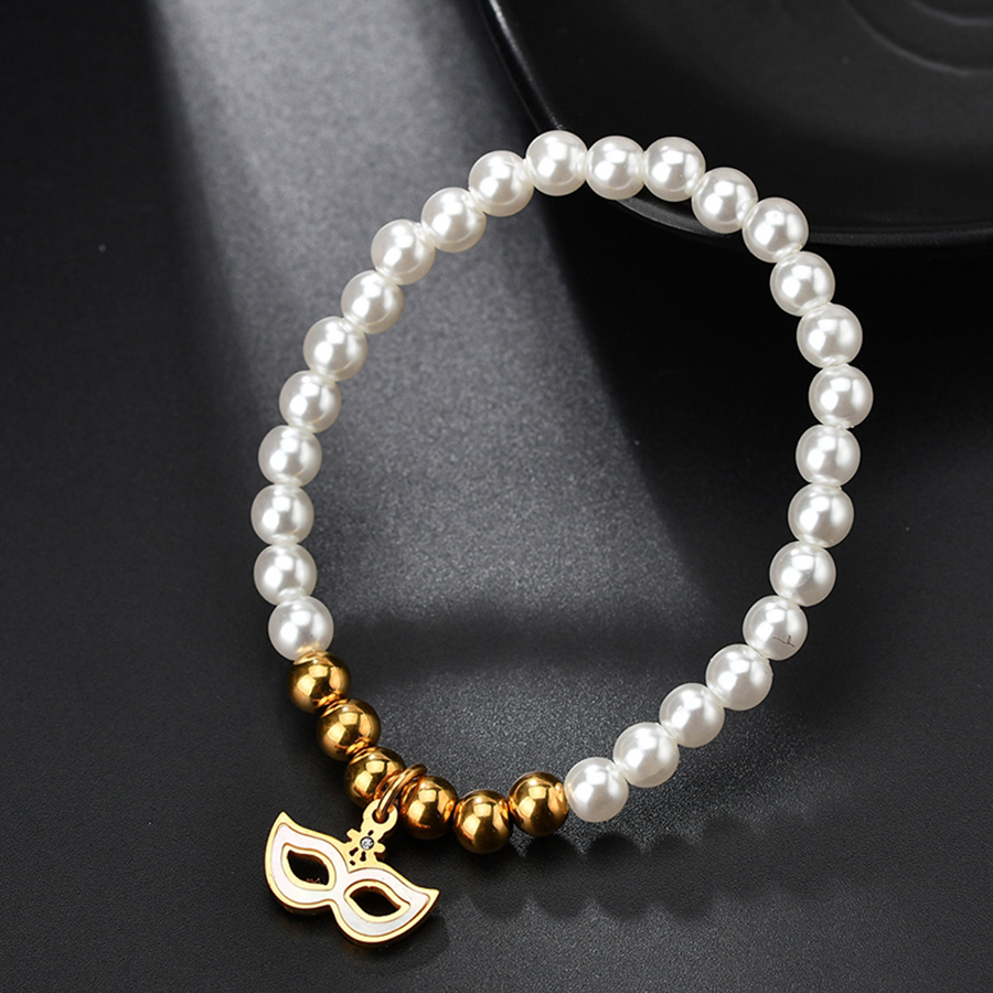 HOBBORN Fashion Simulated pearl Beaded Bracelets Stainless Steel Beads Bangles Prom Mask Charm Bracelet Women Party Jewelry Gift in Charm Bracelets from Jewelry Accessories