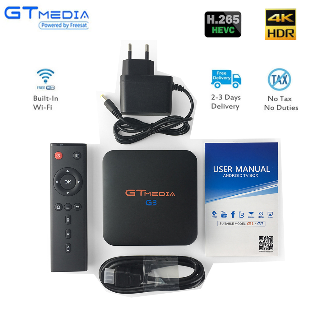 Оригинальный GT MEDIA G3 ТВ BOX Smart 4 K Ultra BT 4,0 Android 7,1 2G/16G фильм WI-FI Google Cast Netflix Media Player телеприставки