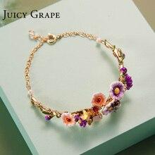 Сочный виноград, ручная роспись, эмаль, глазурь, цветок ромашки, браслет, Модный позолоченный браслет для женщин, подарок, поддержка, смешанные цвета