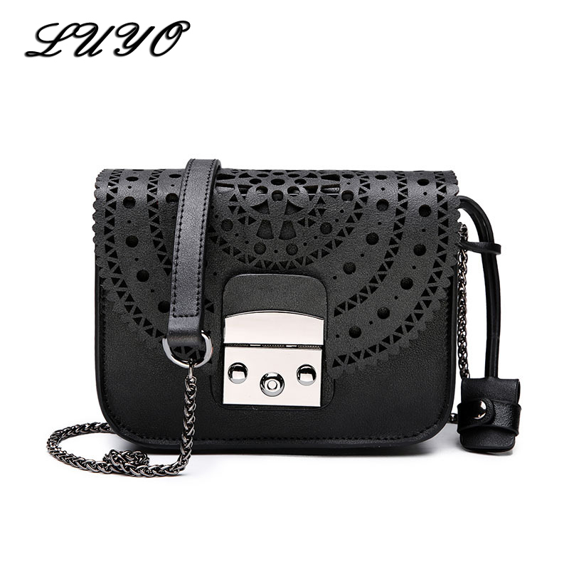 Luyo Hollow Out Pu Leather Women Famous Brands Messenger Bags Flap Female Handbags Girl Small Shoulder Bag White Cross Body Sac