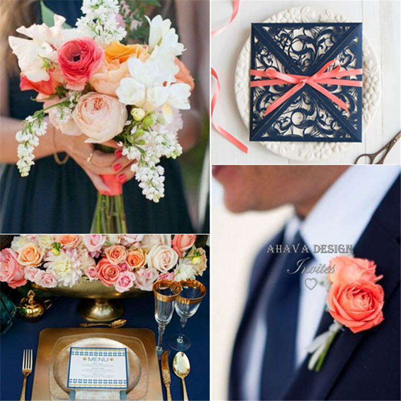 gorgeous-navy-blue-laser-cut-wedding-invitation-with-coral-ribbon