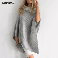 LASPERAL Winter Vintage Turtleneck Knitted Sweater Women Poncho Irregular Pullover Female Streetwear Winter Sweater Jumpers
