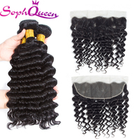Soph Queen Deep Wave Bundles With Frontal Malaysia Hair Weave 3 Bundles With Closure Remy Human Hair Lace Frontal Natural Black
