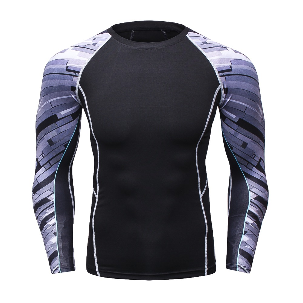 Crossfit Muscle Male Compression Tight T-Shirt Long Sleeve T Shirt Men 3D Printed MMA Rashguard Fitness Clothing Sportswear Tops