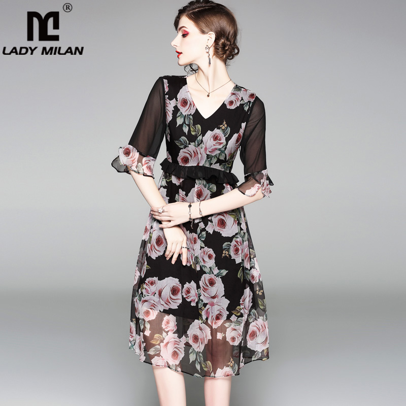 100% Silk Womens Sexy V Neck Half Sleeves Ruffles Floral Printed Elegant Fashion Designer Runway Dresses