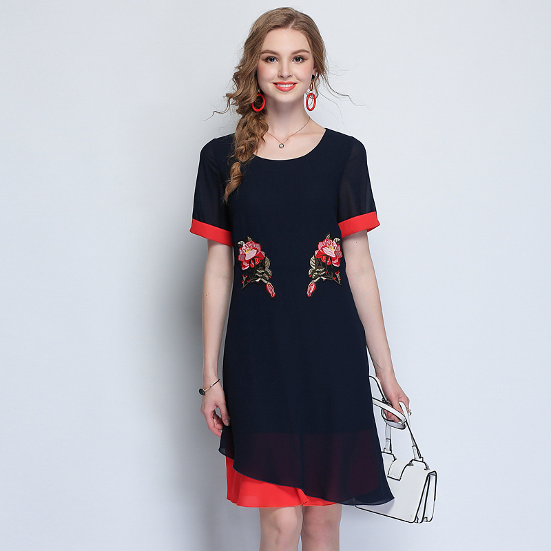 Flower Embroidered Women Vintage Dresses Summer 2018 New Fashion 4XL 5XL Plus Size Clothing Ladies Elegant Dress