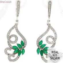 7.85g Real 925 Solid Sterling Silver Elegant Butterfly Green Emerald CZ Ladies Gift Earrings 49x16mm