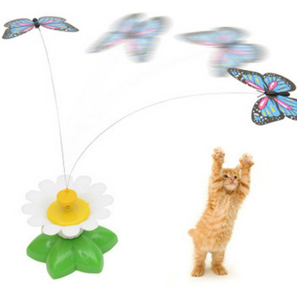 Cat Toys Electric Rotating Colorful Butterfly Funny Pet Seat ScratchToy For Cats Kitten TOY1135