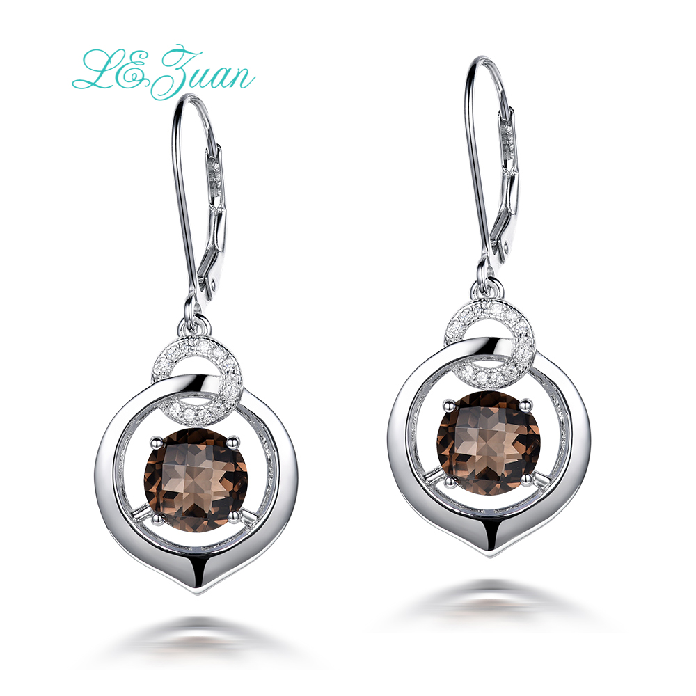 I&zuan Drop Earrings For Women 4.81ct Natural Smoky Quartz Gems 100% 925 Sterling Silver Fine Jewelry Checkerboard Cut E0044-W04