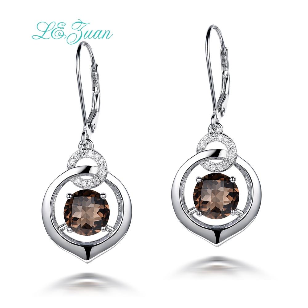 I&zuan Drop Earrings For Women 4.81ct Natural Smoky Quartz Gems 100% 925 Sterling Silver Fine Jewelry Checkerboard Cut E0044-W04