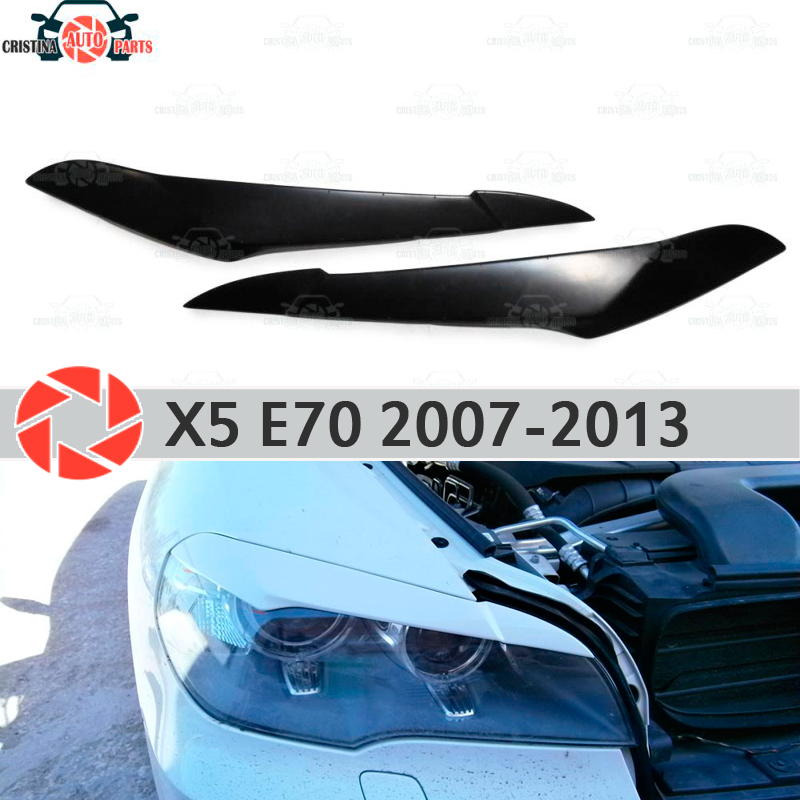 Eyebrows for BMW X5 E70 2007-2013 for headlights cilia eyelash plastic ABS moldings decoration trim covers car styling car styling for bmw