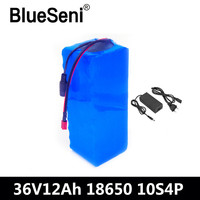 BlueSeni 36V 12AH Electric Bike Battery Built in 20A BMS Lithium Battery Pack 36 Volt with 2A Charge Ebike Battery