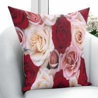 Más crema rojo rosa rosas flores amor Floral 3D patrón impresión funda de almohada Cojín cuadrado cremallera oculta 45 45x45 cm