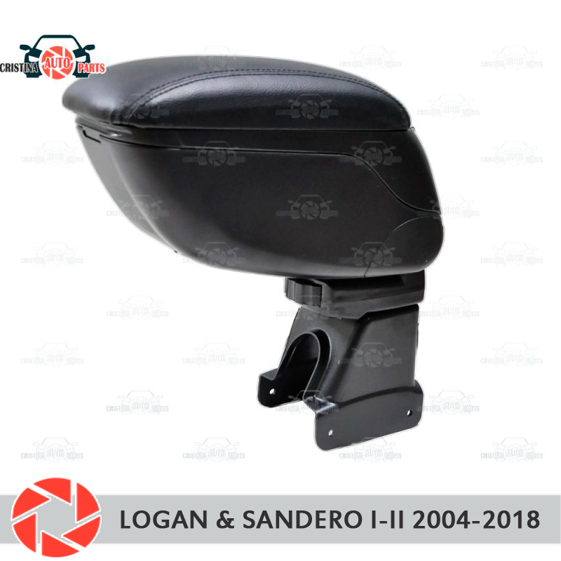For Renault Logan / Sandero 2004-2018 car armrest central console leather storage box ashtray accessories car styling