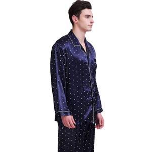 Image 3 - Мужская шелковая атласная пижама, пижамный комплект, Пижама, комплект для отдыха, США, S,M,L,XL,XXL,3XL , 4XL