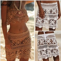 2f00aa8713426 More Review IASKY 2018 Crochet A line beach skirt sexy women hollow out swimsuit  bikini cover ups beach wear 2 color