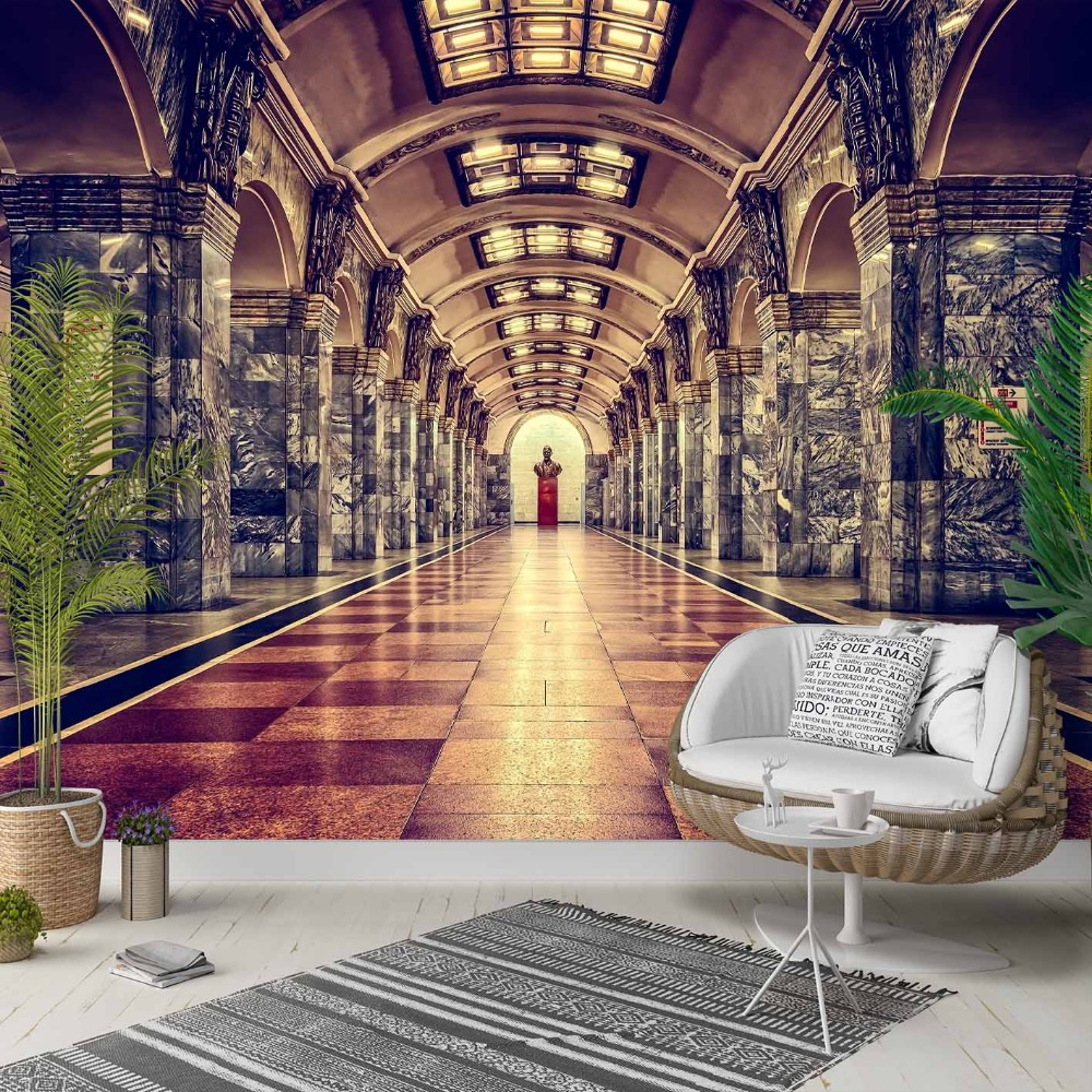 Else Vintage  Historic Train Station Lounge 3d Photo Cleanable Fabric Mural Home Decor Living Room Bedroom Background Wallpaper
