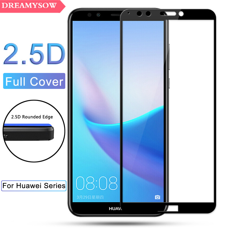 HD Screen Protector Tempered Glass For Huawei Y3 Y5 Y6 Y7 Y9 2018 Y5 Y6 2017 Y7 Prime Pro Colorful Full Cover Film