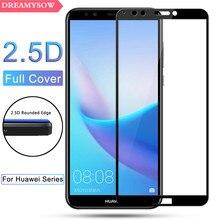 HD מסך מגן מזג זכוכית עבור Huawei Y3 Y5 Y6 Y7 Y9 2018 Y5 Y6 2017 Y7 ראש Pro צבעוני מלא כיסוי סרט