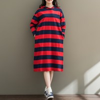 Casual Women Autumn Winter Long Sleeve Pullover Hooded Dress Shirt Oversized Striped Vestido Hoodies Sweatshirts Dresses