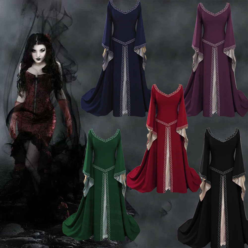 Spring Women Long Vintage Medieval Victorian Dress Ladies Halloween Princess Vampire Costume Masquerade Ball Gown Party Dresses
