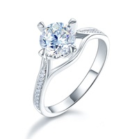 Павлин звезда 14 К Белое золото 4 когти Свадебные Обручение кольцо 1 карат навсегда один Муассанит алмаз