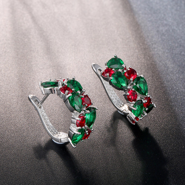 CARSINEL Red Green Zirconia Hoop Earrings For Women Fashion Silver color CZ Earring Wedding Party Jewelry.jpg 640x640 - CARSINEL Red Green Zirconia Hoop Earrings For Women Fashion Silver color CZ Earring Wedding Party Jewelry ER03c