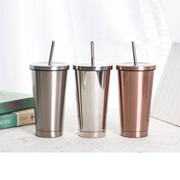 500ml Fashion Portable Coffee Mug With Lid Straw Double Wall Stainless Steel Vacuum Flask Travel Tea