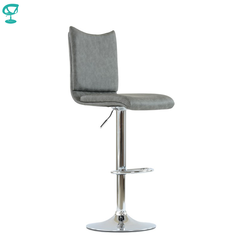 N99CrPuGray Barneo N-99 Eco-Leather Kitchen Breakfast Bar Stool Swivel Bar Chair Gray Color Chrome Leg Free Shipping In Russia