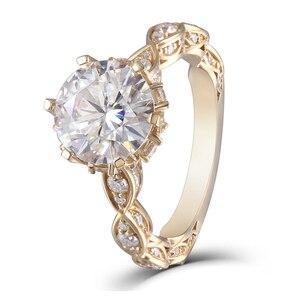 Image 3 - DovEggs anillo de oro amarillo y moissanita para mujer, sortija, oro de 14K, 585, 3CT, centro, 9mm, ancho de banda de 2,2mm, conjunto de anillos de compromiso con Detalles