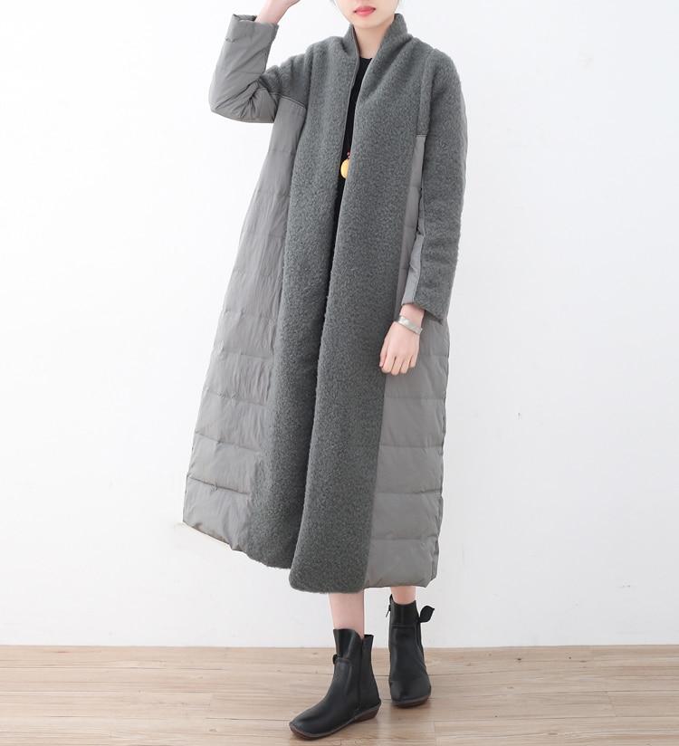 Grand D'hiver De Lâche B4051 black Duvet Haute Blanc Vestes Camel Veste Chaud Femmes Canard Color Femme Qualité gray Long Tailles w7xnR4