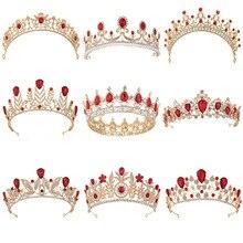 20 стилей, золотой цвет, винтажная красная Хрустальная Свадебная круглая тиара, аксессуары для волос, стразы, корона для выпускного вечера для невесты