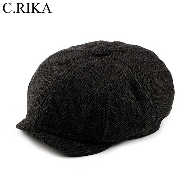 ea864ae918b Tweed Gatsby Spring Autumn Newsboy Cap Men Wool Ivy Hat Golf Driving Flat  Cabbie Flat Berets Hat peaky blinders hat