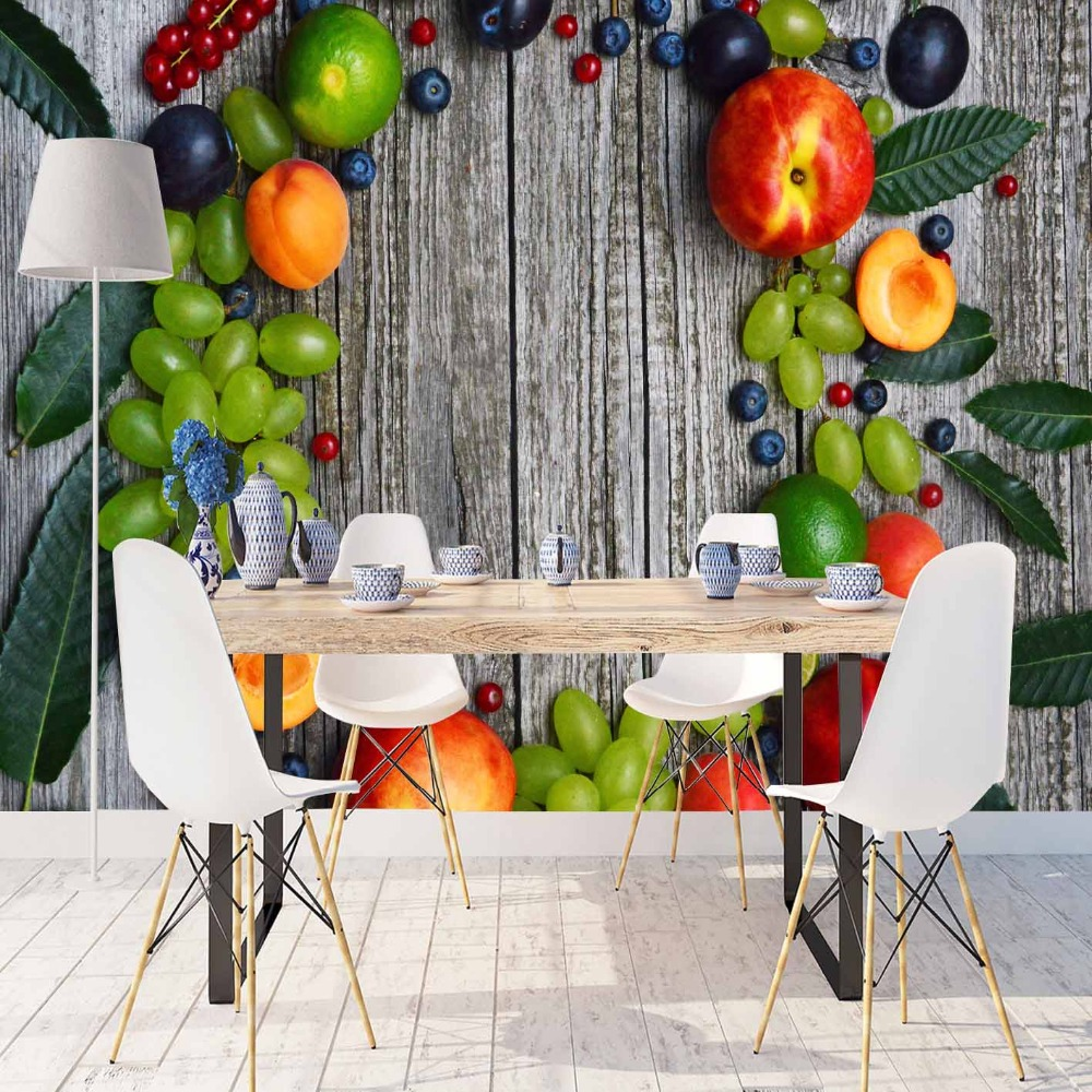 Else Gray Wood Orange Peach Green Grapes Fruits 3d Print Photo Cleanable Fabric Mural Home Decor Kitchen Background Wallpaper