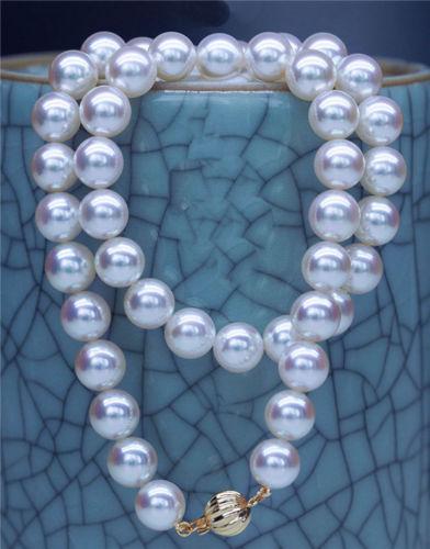 """Top lustre rond AAAAA 17 """"8-9mm véritable AKOYA mer du sud collier de perles blanches>>> livraison gratuite"""