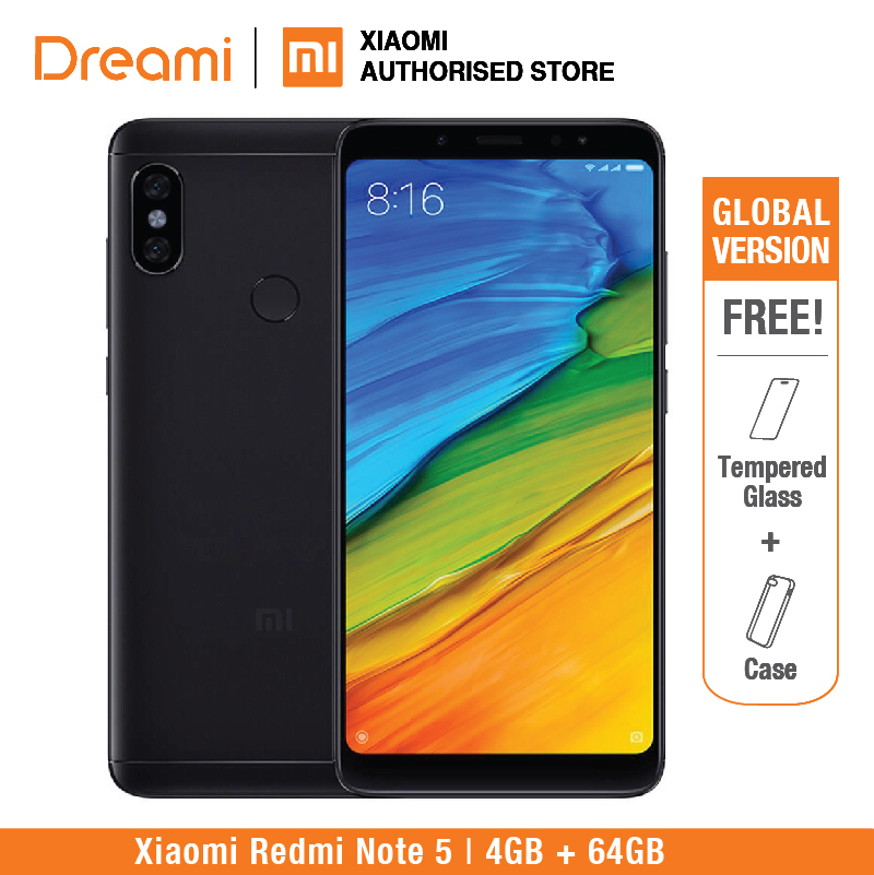 Global Version Xiaomi Redmi Note 5 64GB ROM 4GB (helt ny og forseglet) redmi note5