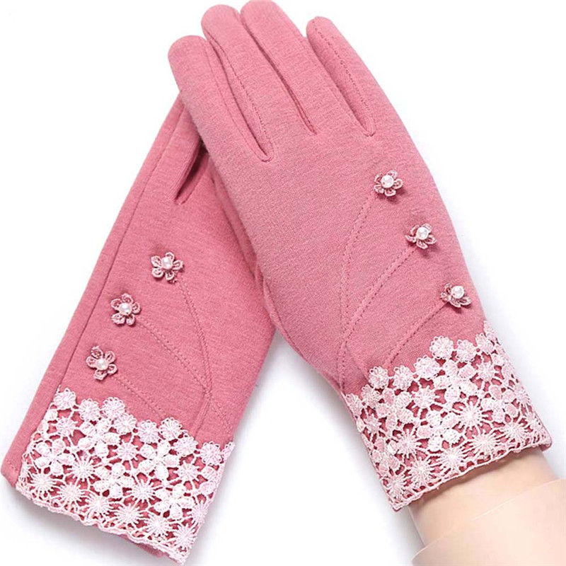 Fashion Elegant Womens Touch Screen Gloves Winter Ladies Lace Warm Cashmere Bow Full Finger Mittens Wrist Guantes Gift