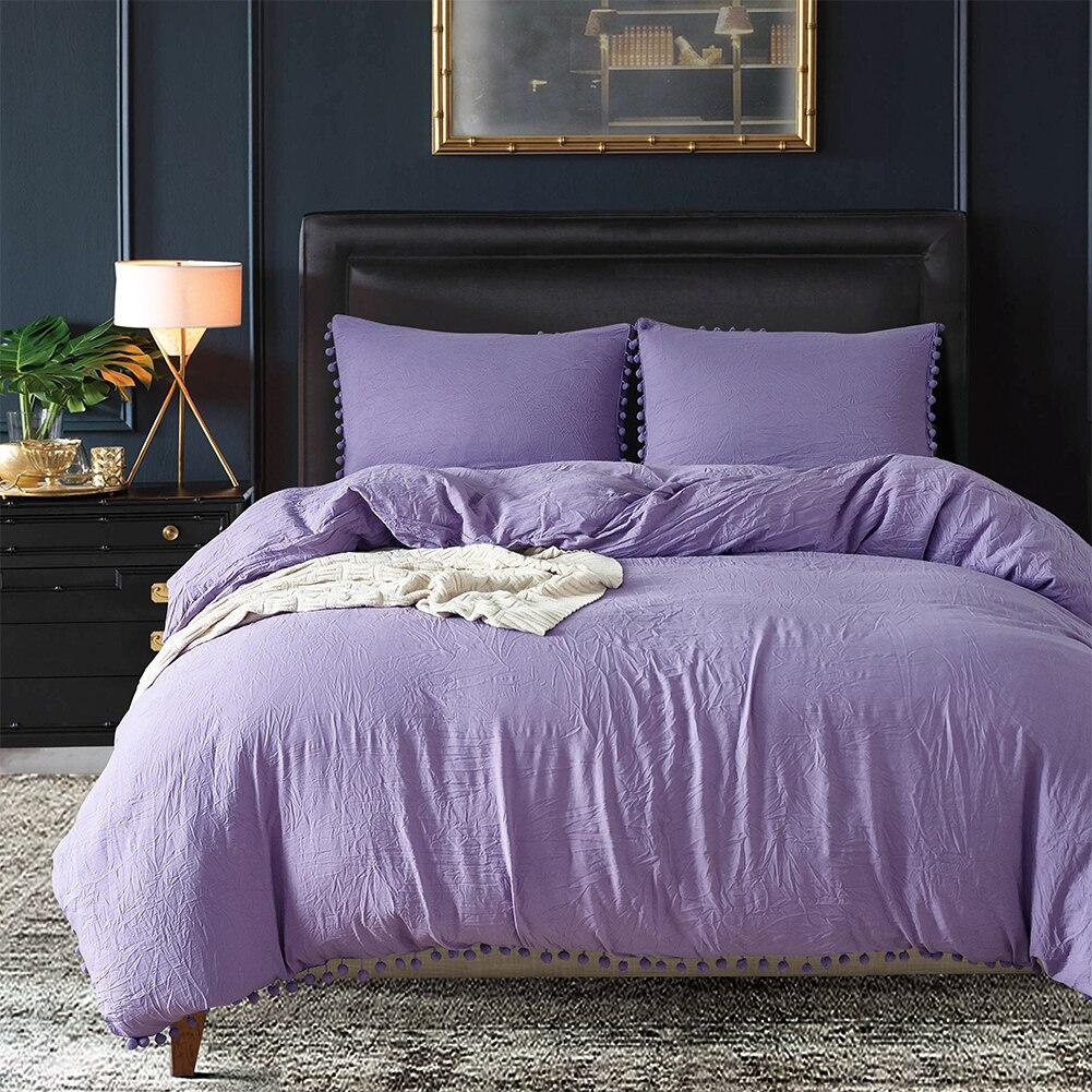 Fashion Soft Solid Color Duvet Cover + Pillow Case Home Textiles Bedding Set