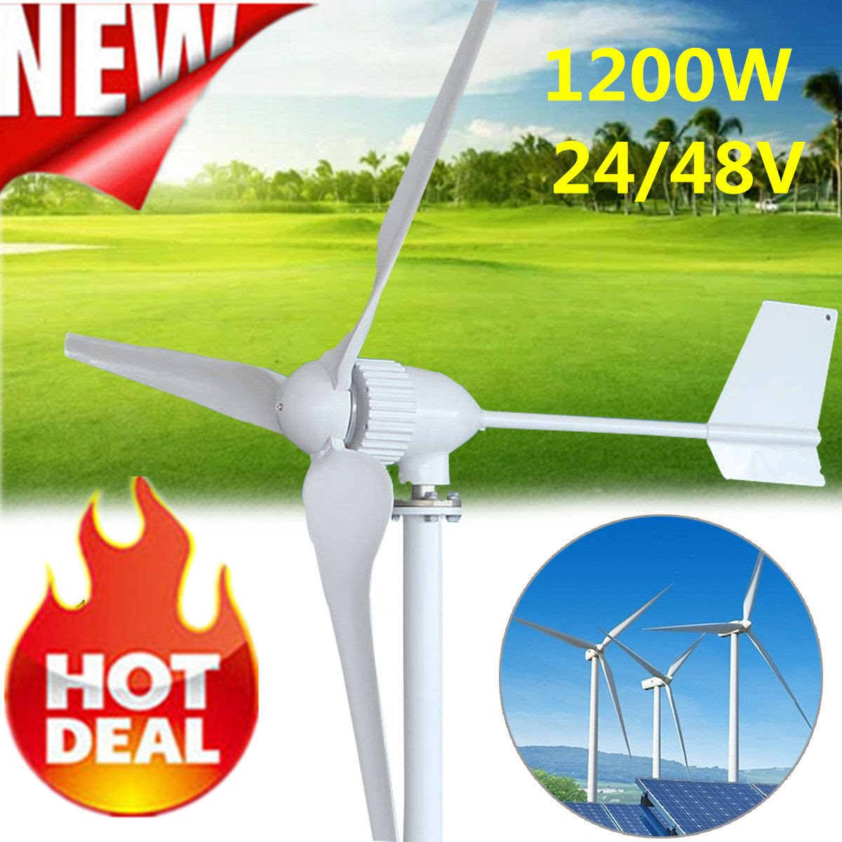 New Hot Sale 1200W 24/48V Wind Generator Automatic Adjustable Generator Fit For Home Or Marine Power Supply