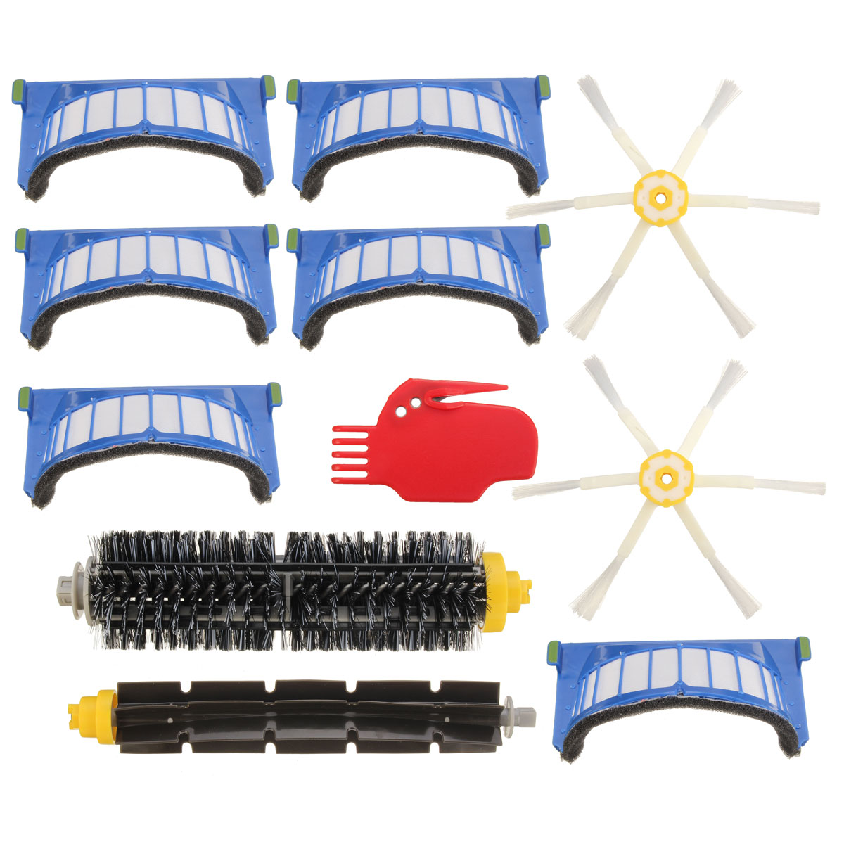 New 11Pcs Replacement Hepa Filter And Side Brush Bristle Flexible Beater Combo Kit For i Robot R oomba 600 Series Cleaning Tools 24pcs replacement filter bristle beater brush round cleaning tool vacuum cleaner accessories kit for i robot r oomb 500 series