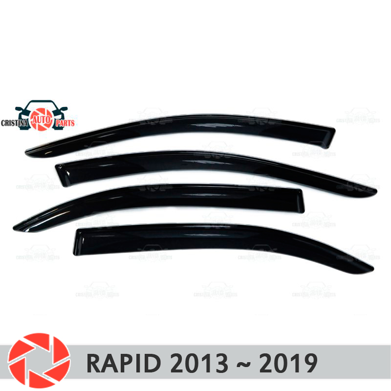 Window deflector for Skoda Rapid 2013~2018 rain deflector dirt protection car styling decoration accessories molding 2x 17cm car cob led drl daytime running light source head lamp white waterproof fog lamps with protection car styling