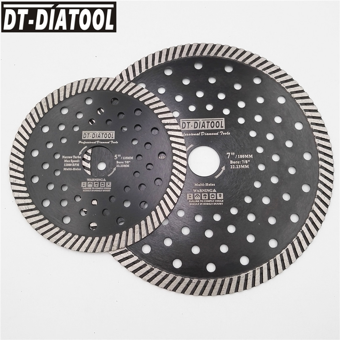 DT-DIATOOL 2pcs Diamond Blade Narrow Turbo Multi Hole Saw Blade cutting disc Dia 105mm 115mm 125mm 180mm 230mm Grinding wheel