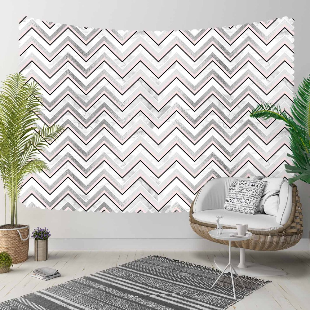 Else Gray White Pink Lines Stripes Geometric Nordec 3D Print Decorative Hippi Bohemian Wall Hanging Landscape Tapestry Wall Art