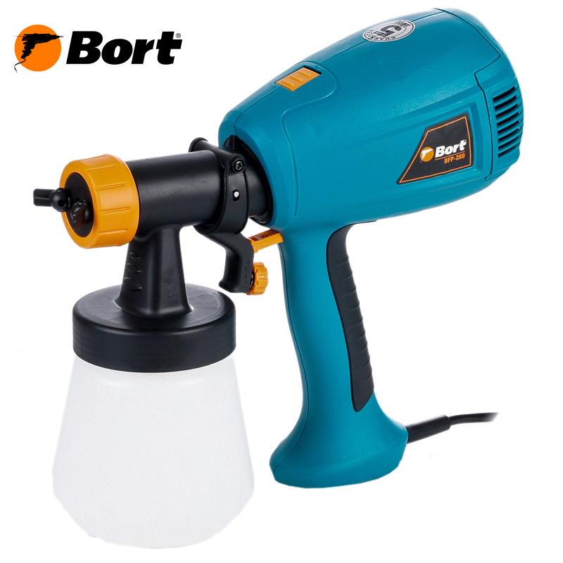 Bort Spray Gun High Power Home Electric Paint Sprayer Nozzle Easy Spraying Professional Air Spray Gravity Feed Airbrush Kit HVLP BFP-280 professional newest dual digital lcd power supply tattoo power supply for tattoo machine gun kit high quality free shipping