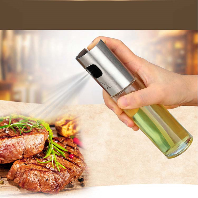 Glass Olive Spraying Oil Bottle Sprayer Stainless Steel Essig Oil Pot Leak-proof Drops Spice Jar Seasoning Kitchenware Tools